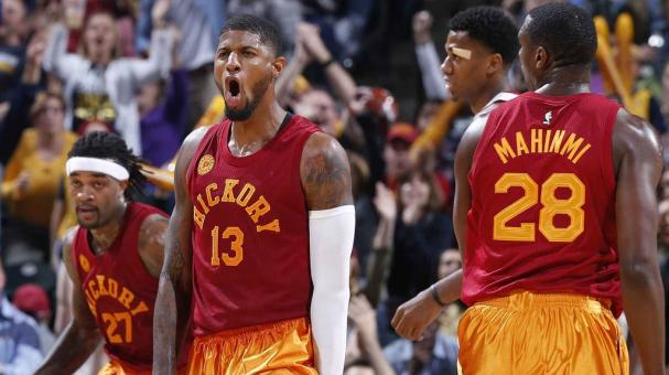 Paul George #13 of the Indiana Pacers reacts after making a basket against the Miami Heat in the second half of a game at Bankers Life Fieldhouse on November 6, 2015 in Indianapolis, Indiana. The Pacers defeated the Heat 90-87. Getty Images