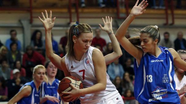 Red Star Belgrade basketball player Natasa Kovacevic, center fights for the ball during the Serbian women's basketball league match between Red Star and Student, in Belgrade, Serbia, Wednesday, Nov. 11, 2015. (AP Photo/Darko Vojinovic)