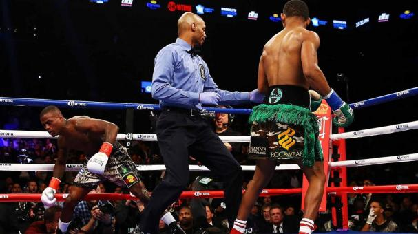 Danny Jacobs defeats Peter Quillin by TKO during their WBA Middleweight Championship bout on December 5, 2015 in the Brooklyn borough of New York City. (Photo by Al Bello/Getty Images)