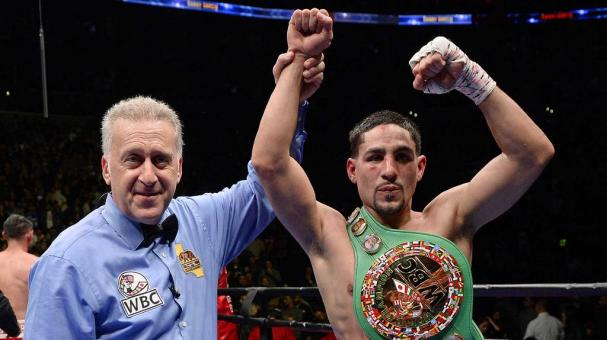 Referee Jack Reiss holds up the hand of Danny Garcia after he defeated Robert Guerrero on unanimous decision to win the WBC championship welterweight belt at Staples Center January 23, 2016 in Los Angeles, California. (Getty Images)