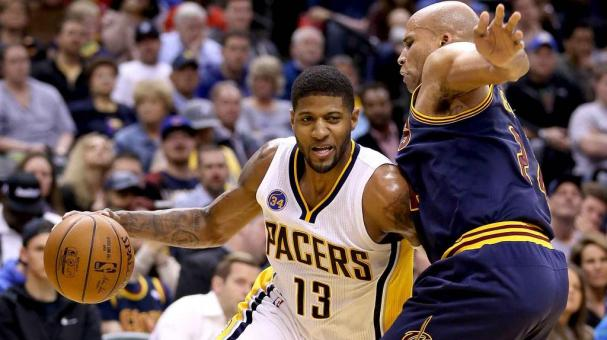 Paul George #13 of the Indiana Pacers dribbles the ball during the game against the Cleveland Cavaliers at Bankers Life Fieldhouse on April 6, 2016 in Indianapolis, Indiana. (Getty Images)
