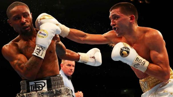 Lee Selby of Wales lands a punch on Eric Hunter of the United States during the IBF World Featherweight title fight at The O2 Arena on April 9, 2016 in London, England. (Photo by Richard Heathcote/Getty Images)