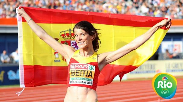 AMSTERDAM, NETHERLANDS - JULY 07: Ruth Beitia of Spain celebrates after winning gold in the final of the womens high jump on day two of The 23rd European Athletics Championships at Olympic Stadium on July 7, 2016 in Amsterdam, Netherlands. (Photo by Ian M