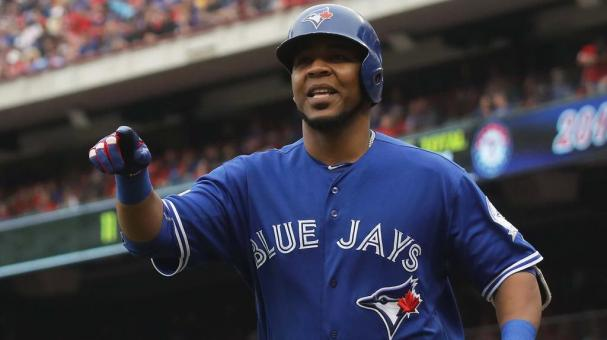 Edwin Encarnacion #10 of the Toronto Blue Jays in game two of the American League Division Series at Globe Life Park in Arlington on October 7, 2016 in Arlington, Texas. (Photo by Ronald Martinez/Getty Images)