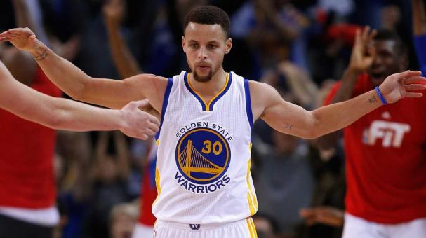 Stephen Curry #30 of the Golden State Warriors reacts after making a three-point basket against the Indiana Pacers at ORACLE Arena on January 22, 2016 in Oakland, California. Getty Images