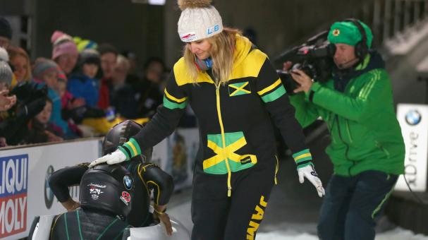 Sandra Kiriasis, head coach of team Jamaica reacts with her athletes Jazmine Fenlator-Victorian and Carrie Russell of Jamaica at the BMW IBSF World Cup Women`s Bobsleigh World Cup on January 19, 2018 in Koenigssee, Germany. (Getty Images)