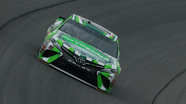 Kyle Busch, driver of the #18 Interstate Batteries Toyota, practices for the Monster Energy NASCAR Cup Series Consmers Energy 400 at Michigan International Speedway on August 10, 2018 in Brooklyn, Michigan. (Getty Images)