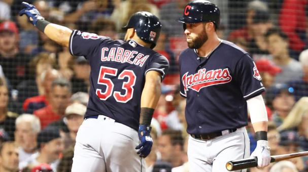 Melky Cabrera #53 reacts with Jason Kipnis #22 of the Cleveland Indians in the sixth inning after hitting a solo home run in a game against the Boston Red Sox at Fenway Park on August 21, 2018 in Boston, Massachusetts. (Getty Images)
