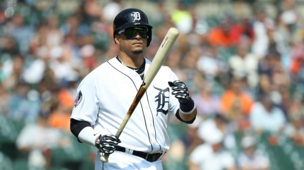 Victor Martinez #41 of the Detroit Tigers reacts after hitting a line drive for an out during the eight inning of the game against the Minnesota Twins at Comerica Park on August 12, 2018 in Detroit, Michigan. Detroit defeated Minnesota 4-2. Getty Images
