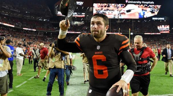 Baker Mayfield #6 of the Cleveland Browns runs off the field after a 21-17 win over the New York Jets at FirstEnergy Stadium on September 20, 2018 in Cleveland, Ohio. (Getty Images)
