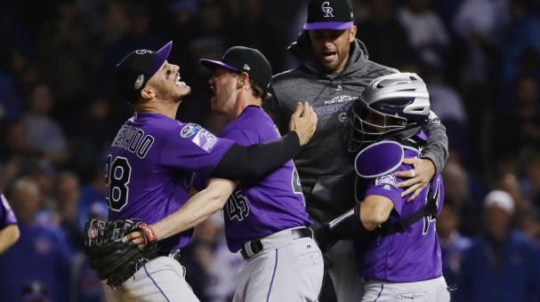 The Colorado Rockies celebrate defeating the Chicago Cubs 2-1 in thirteen innings to win the National League Wild Card Game at Wrigley Field on October 2, 2018 in Chicago, Illinois. (Getty Images)
