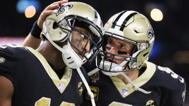 New Orleans Saints wide receiver Michael Thomas and New Orleans Saints quarterback Drew Brees at the Mercedes-Benz Superdome in New Orleans, Louisiana, USA, 13 January 2019. EFE