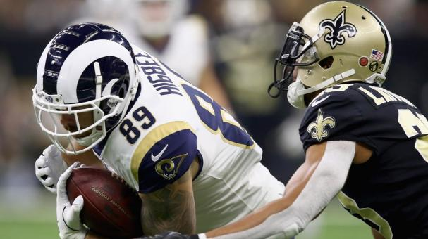 Tyler Higbee #89 of the Los Angeles Rams makes a reception near Marshon Lattimore #23 of the New Orleans Saints at Mercedes-Benz Superdome on November 4, 2018 in New Orleans, Louisiana. (Getty Images)