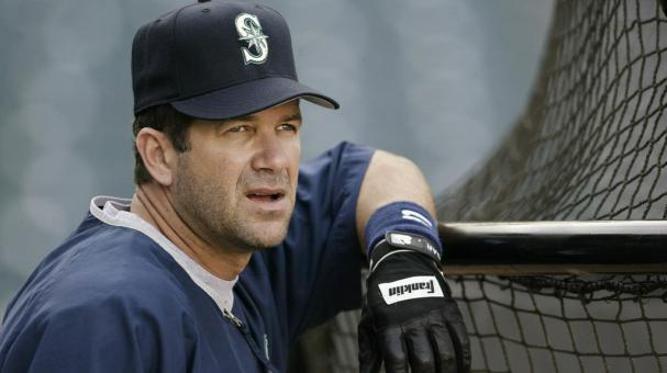 Edgar Martinez #11 of the Seattle Mariners looks out on the field during batting practice before the game against the Anaheim Angels at Edison Field on April 18, 2003 in Anaheim, California. The Mariners defeated the Angels 8-2. (Getty Images)