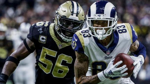 Los Angeles Rams Josh Reynolds (R) and New Orleans Saints Demario Davis (L) during the NFC Championship game in New Orleans, Louisiana, USA, 20 January 2019. EFE