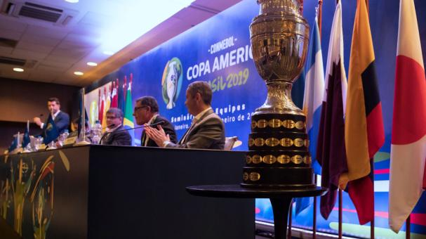 The Copa America Trophy is displayed during a meeting between representatives of the twelve nations who will take part in the 2019 Copa America and the competition's local organizing committee on January 22, 2019 in Rio de Janeiro, Brazil. (Getty Images)