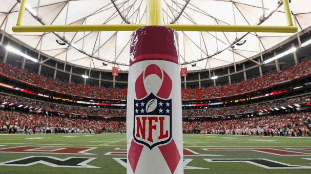 General view of a goal post with a logo in recognition of Breast Cancer Awareness Month during the game between the Atlanta Falcons and the San Francisco 49ers at Georgia Dome on October 3, 2010 in Atlanta, Georgia. (Getty Images)