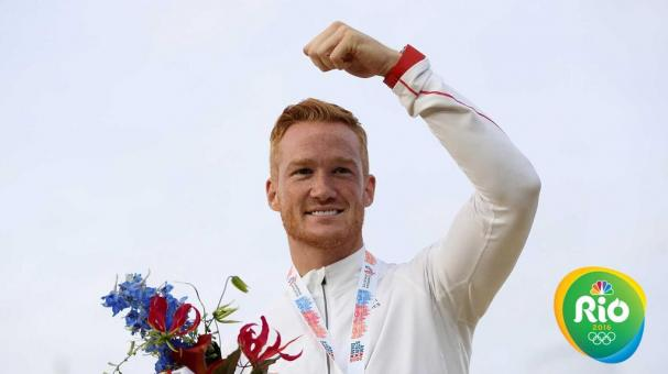 AMSTERDAM, NETHERLANDS - JULY 07: Greg Rutherford of Great Britain celebrates on the podium after winning gold in the mens long jump on day two of The 23rd European Athletics Championships at Olympic Stadium on July 7, 2016 in Amsterdam, Netherlands. (Pho