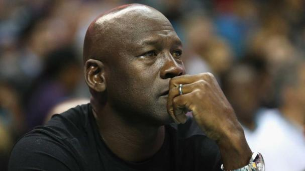 CHARLOTTE, NC - NOVEMBER 01: Owner of the Charlotte Hornets, Michael Jordan, watches on during their game against the Atlanta Hawks at Time Warner Cable Arena on November 1, 2015 in Charlotte, North Carolina. NOTE TO USER: User expressly acknowledges and