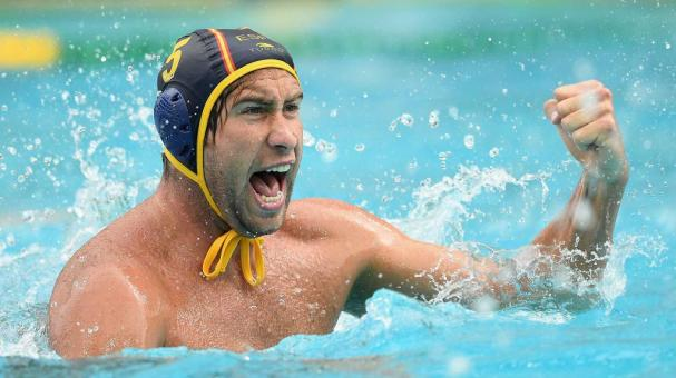RIO DE JANEIRO, BRAZIL - AUGUST 08: Guillermo Molina Rios of Spain celebrates a goal during the Men's Prelimimary Round Group B match between the United States of America and Spain on Day 3 of the Rio 2016 Olympic Games at Maria Lenk Aquatics Centre on Au