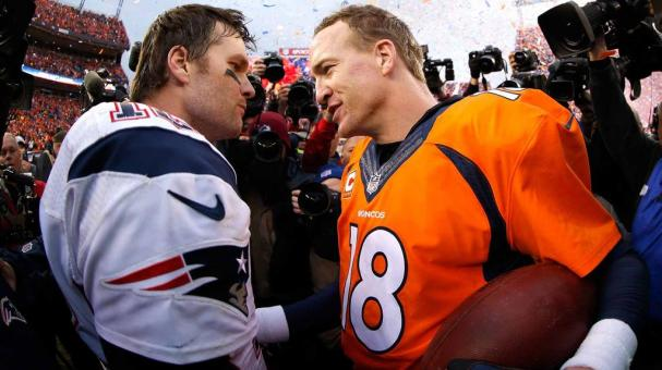 Peyton Manning #18 of the Denver Broncos and Tom Brady #12 of the New England Patriots speak after the AFC Championship game at Sports Authority Field at Mile High on January 24, 2016 in Denver, Colorado. Broncos defeated Patriots 20-18 (Getty Images)