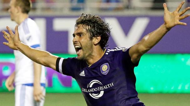 Orlando City's Kaka celebrates scored against the Montreal Impact during the second half of an MLS soccer game, Saturday, May 21, 2016, in Orlando, Fla. Orlando won 2-1. (AP Photo/John Raoux)
