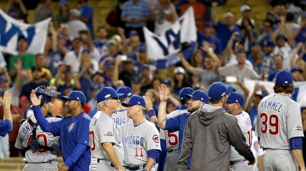 Chicago Cubs fans cheer after the Cubs 8-4 victory against the Los Angeles Dodgers in game five of the National League Division Series at Dodger Stadium on October 20, 2016 in Los Angeles, California. (Photo by Sean M. Haffey/Getty Images)