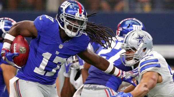 Dwayne Harris #17 of the New York Giants carries the ball during the second half against the Dallas Cowboys at AT&T Stadium on September 11, 2016 in Arlington, Texas. (Photo by Tom Pennington/Getty Images)