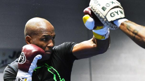Bernard Hopkins works out for the media at Joe Hand Boxing Gym on October 28, 2014 in Philadelphia, Pennsylvania. (Photo by Drew Hallowell/Getty Images)