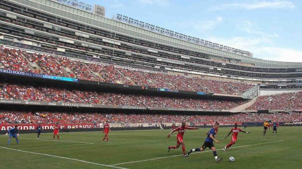 A general view as Manchester United takes on the Chicago Fire in a friendly match during the World Football Challenge 2011 at Soldier Field on July 23, 2011 in Chicago, Illinois. (Getty Images)
