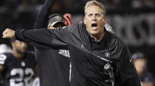 Oakland Raiders head coach Jack Del Rio yells during the first half of an NFL football game against the Denver Broncos in Oakland, Calif., Sunday, Nov. 6, 2016. (AP Photo/Marcio Jose Sanchez)