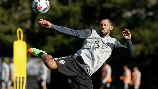 Seattle Sounders forward Clint Dempsey kicks the ball, Monday, Feb. 13, 2017, during training in Tukwila, Wash. Photo: Ted S. Warren, AP