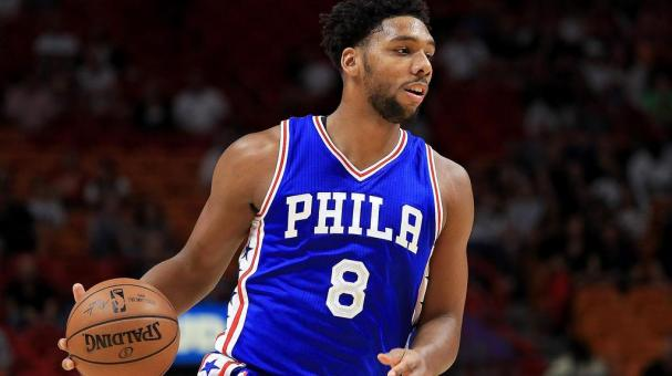 ahlil Okafor #8 of the Philadelphia 76ers looks to pass during a preseason game against the Miami Heat at American Airlines Arena on October 21, 2016 in Miami, Florida. (Photo by Mike Ehrmann/Getty Images)