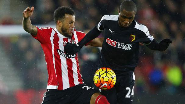 Odion Ighalo of Watford and Ryan Bertrand of Southampton compete for the ball during a Premier League at St. Mary's Stadium on January 13, 2016 in Southampton, England. (Photo by Ian Walton/Getty Images)