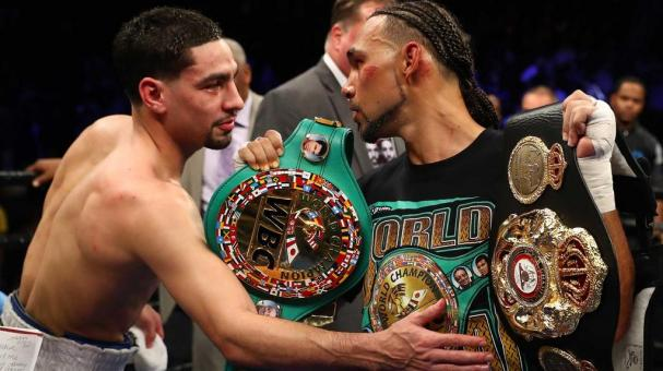 Danny Garcia congratulates Keith Thurman after losing a split decision against him for the WBA/WBC Welterweight unification Championship at the Barclays Center in Brooklyn, New York on March 4, 2017 in New York City. (Getty Images)