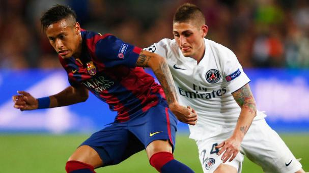 Neymar of Barcelona takes on Marco Verratti of PSG during the UEFA Champions League Quarter Final second leg match at Camp Nou on April 21, 2015 in Barcelona, Spain. (Photo by Clive Rose/Getty Images)
