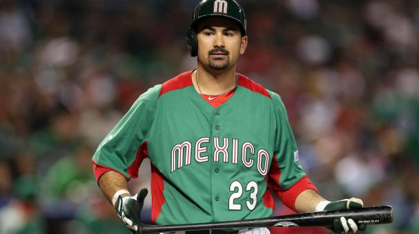 Adrian Gonzalez #23 of Mexico reacts after he walked against the United States during the World Baseball Classic game at Chase Field on March 8, 2013 in Phoenix, Arizona. (Getty Images)