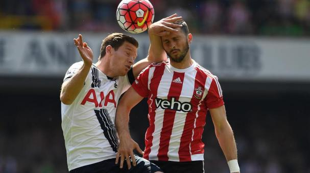 Jan Vertonghen of Tottenham Hotspur competes in an arial duel with Shane Long of Southampton during the Barclays Premier League match between Tottenham Hotspur and Southampton at White Hart Lane on May 8, 2016 in London, England. (Photo Getty Images)