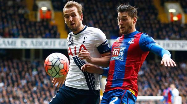 Harry Kane of Tottenham Hotspur is challenged by Joel Ward of Crystal Palace during the Emirates FA Cup Fifth Round match  at White Hart Lane on February 21, 2016 in London, England. (Photo by Clive Rose/Getty Images)