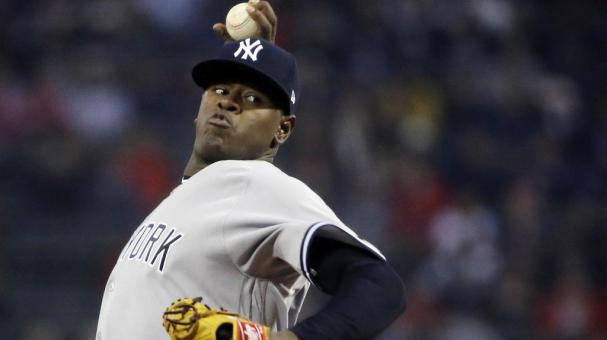 Luis Severino de los New York Yankees lanza ante los Boston Red Sox, el miércoles 26 de abril de 2017. (AP Foto/Elise Amendola)