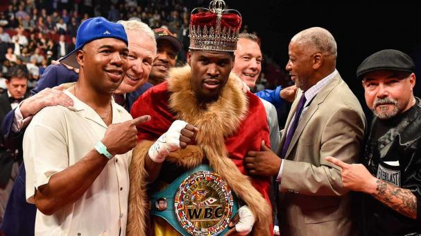 Adonis Stevenson poses with his trainer SugarHill Steward (left) during the WBC light heavyweight world championship match at the Bell Centre on June 3, 2017 in Montreal, Quebec, Canada. (Getty Images)