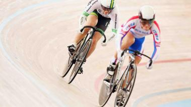 Anna Meares of Australia rides against Anastasiia Voinova of Russia in the 1/16 round of the Women's Sprint during day three of the 2014 UCI Track Cycling World Championships. Getty Images