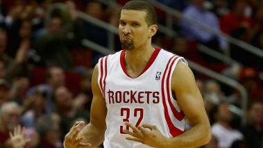 Francisco Garcia #32 of the Houston Rockets celebrates a three-point shot during the game against the Brooklyn Nets at Toyota Center on November 29, 2013 in Houston, Texas. (Photo by Scott Halleran/Getty Images)