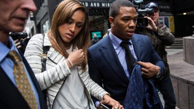 Suspended Baltimore Ravens football player Ray Rice (R) and his wife Janay Palmer arrive for a hearing on November 5, 2014 in New York City. Rice is fighting his suspension after being caught beating his wife in an Atlantic City. Getty Images