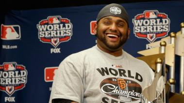 Pablo Sandoval #48 of the San Francisco Giants poses with the Most Valuable Player Trophy after Game Four of the Major League Baseball World Series at Comerica Park on October 28, 2012 in Detroit, Michigan.  (Photo by Matt Solcum - Pool/Getty Images)