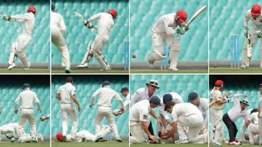 Sequence of images shows Phillip Hughes of South Australia as he is struck in the head by a delivery during day one of the Sheffield Shield on November 25, 2014 in Sydney, Australia. Getty Images