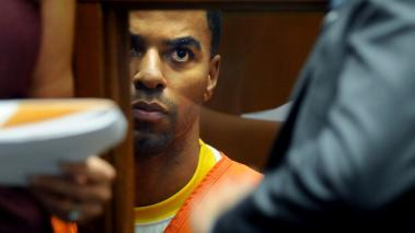 Former NFL player Darren Sharper sits in a Los Angeles courtroom during a bail hearing on March 24, 2014 in Los Angeles, California. Getty Images