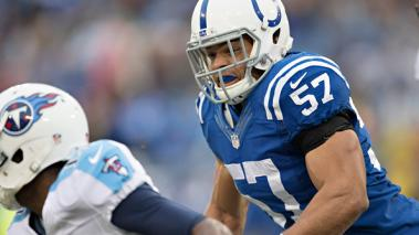 Josh McNary #57 of the Indianapolis Colts chases a runner to make a tackle during the first quarter of a game against the Tennessee Titans at LP Field on December 28, 2014 in Nashville, Tennessee. Getty Images