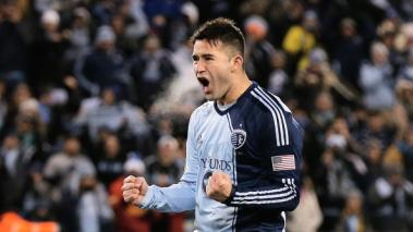 Claudio Bieler #16 of Sporting KC reacts to scoring a goal during the shootout against of Real Salt Lake in the 2013 MLS Cup at Sporting Park on December 7, 2013 in Kansas City, Kansas. (Getty Images)
