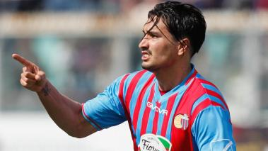 Sebastian Leto of Catania celebrates after scoring his team's opening goal during the Serie A match between Calcio Catania and UC Sampdoria at Stadio Angelo Massimino on April 19, 2014 in Catania, Italy. (Getty Images)